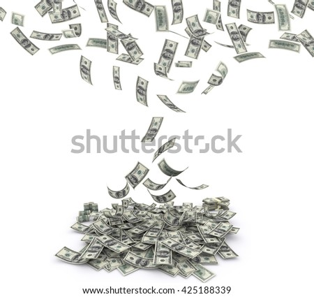 Falling $100 both from front and back like real one on white background. 3d rendering - stock photo