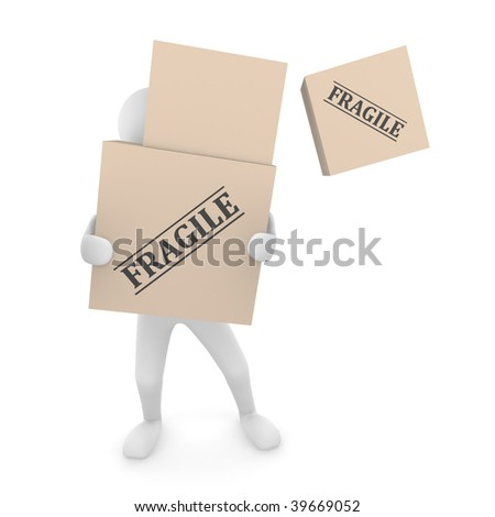 Falling box. Falling Fragile cardboard box off a box pile held by 3D man. - stock photo