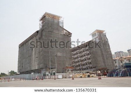 falling building - stock photo