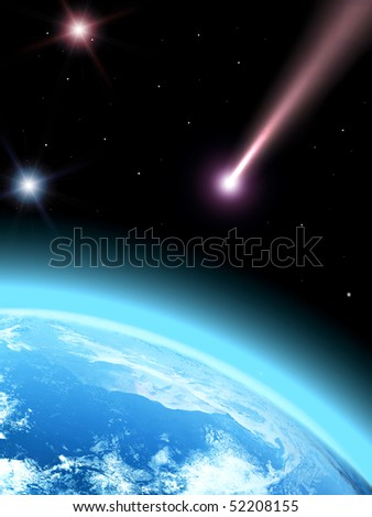 Falling comet and planet earth
