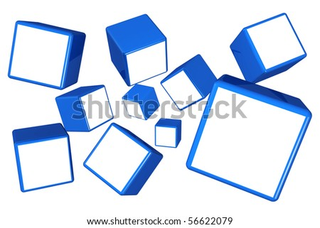 Falling cube photo frame display image in white space select alpha to add your photo - stock photo