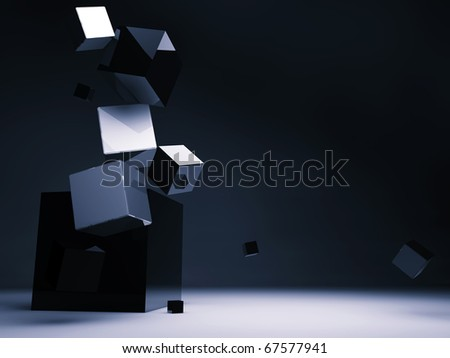 Falling cubes - stock photo