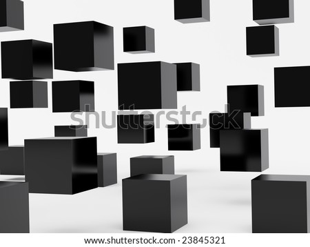 Falling cubes of black colour. High resolution image. 3d illustration over  white backgrounds.