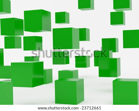 Falling cubes of green colour. High resolution image. 3d illustration over  white backgrounds.