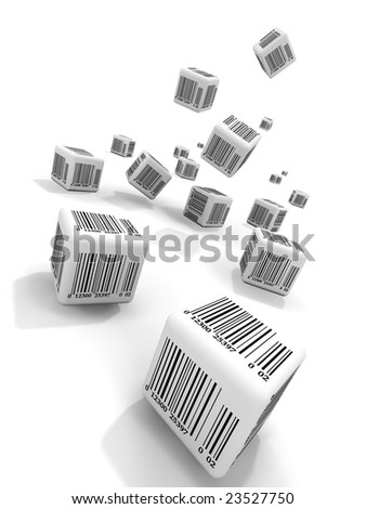 Falling cubes with bar-codes - stock photo
