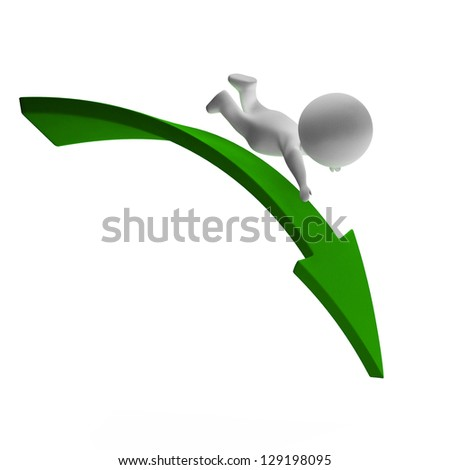 Falling 3d Character Displaying Danger And Ruin - stock photo