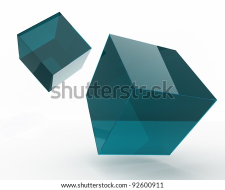 falling 3d cubes over white - stock photo