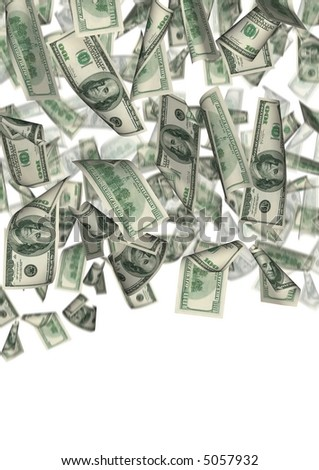 Falling 100 dollar banknotes  on a white background - stock photo