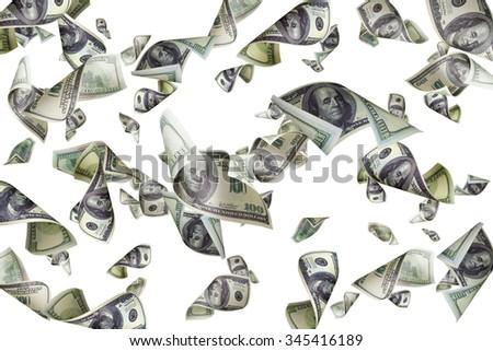 Falling dollar bills isolated on white background - stock photo