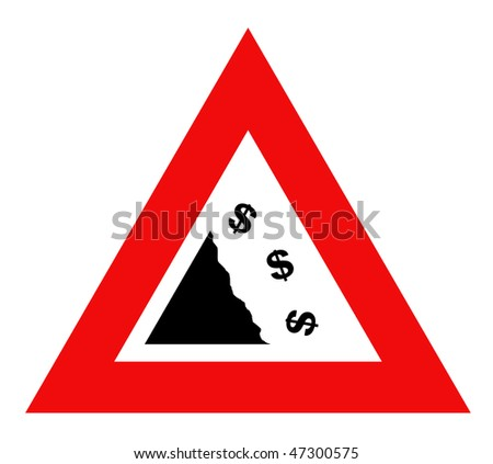 Falling dollar currency sign in red warning triangle, isolated on white background. - stock photo