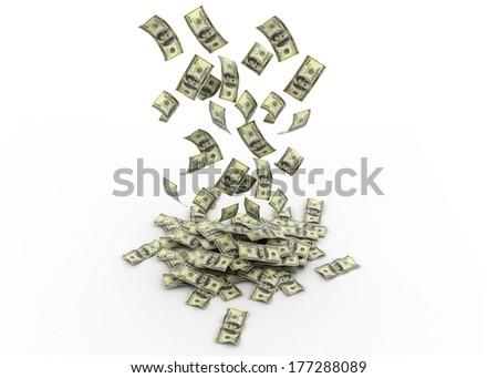 Falling dollars. Dollar rain - stock photo