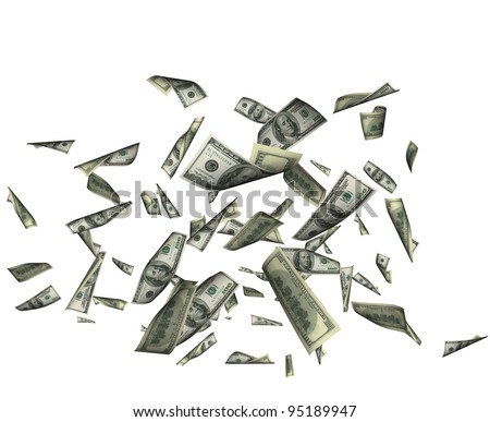 Falling dollars. Hundred dollars bank notes. Isolated on clear white background