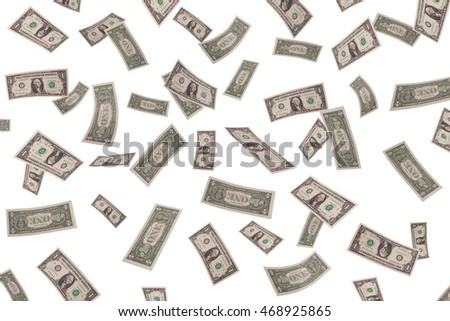 Falling dollars on white background. business concepts
