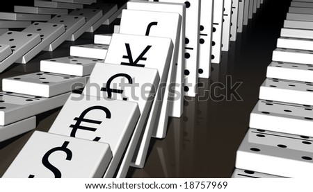 Falling dominoes with major world currencies printed on them. - stock photo