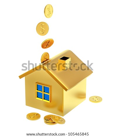 falling down dollar coins into a piggy bank in the form of a gilded house as a symbol of the accumulation - stock photo