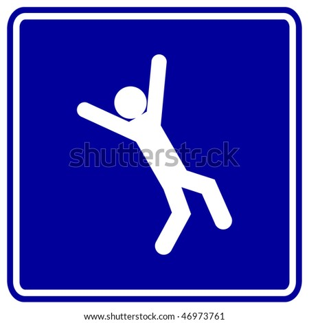 falling down sign - stock photo