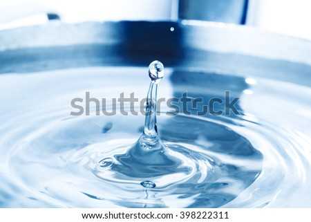 Falling droplets and Splash of water on blue surface