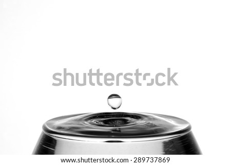 Falling drops of water in a glass on a white background