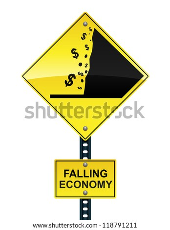 Falling economy road sign - raster - stock photo