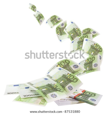 Falling euro banknotes - stock photo