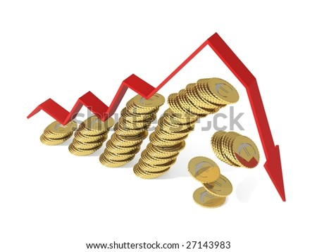 Falling euro coins. 3d graph with negative growth pointing downwards. 4000x3000 pixels. - stock photo