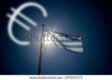 Falling euro, greek flag waving before sun on blue sky, illustration - stock photo