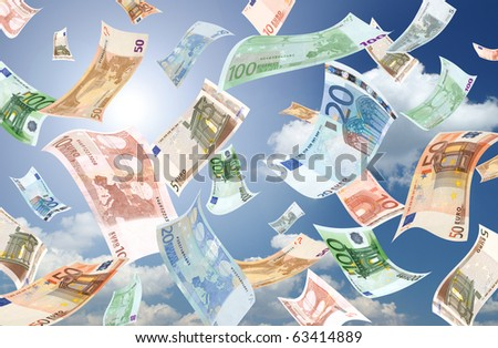 Falling euros (sunny sky background) - stock photo