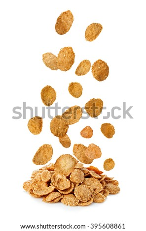 Falling flakes, breakfast cereal isolated on white background. Healthy breakfast. - stock photo