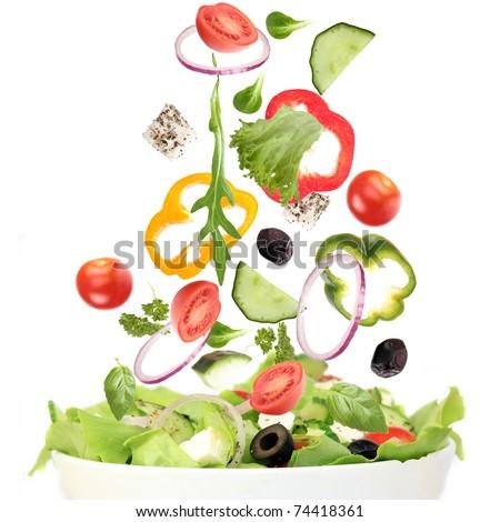 Falling fresh vegetable - stock photo