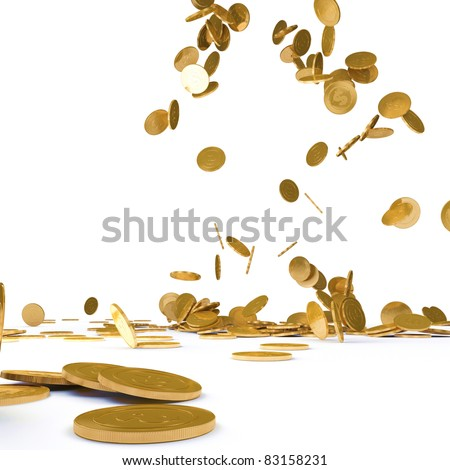 Falling gold chinks on a white background - stock photo