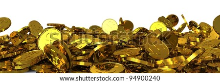 Falling gold dollar coins. 3D rendering - stock photo