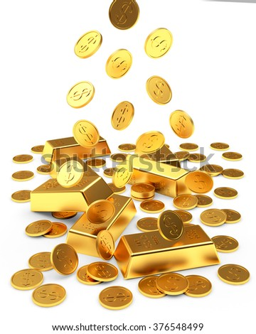 Falling golden bars and coins isolated on white background