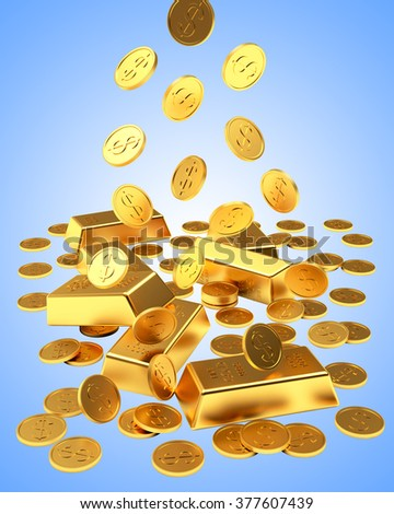 Falling golden bars and coins on blue background