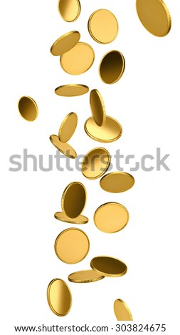 Falling golden coins - stock photo