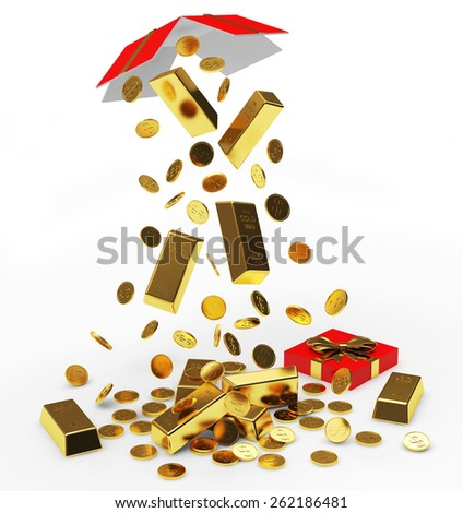 Falling golden coins and bars from open gift box isolated on white background - stock photo