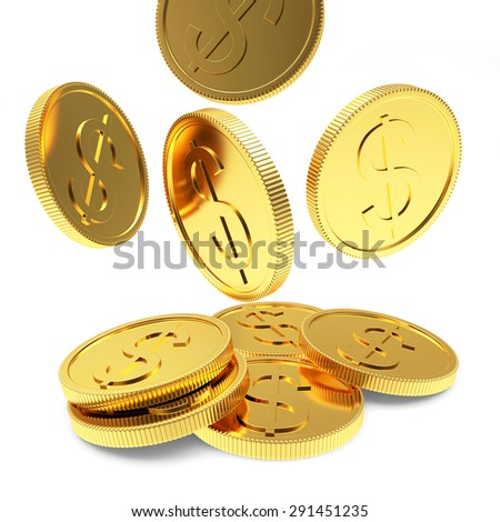 Falling golden coins close-up isolated on a white background - stock photo