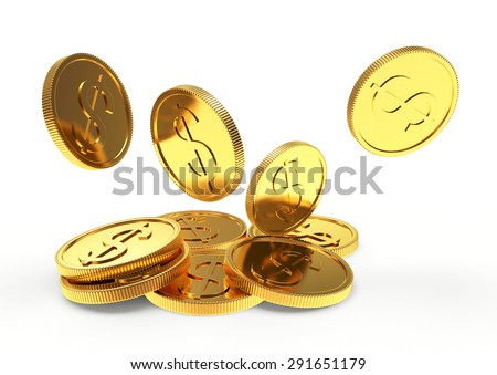 Falling golden coins close up isolated on white background - stock photo