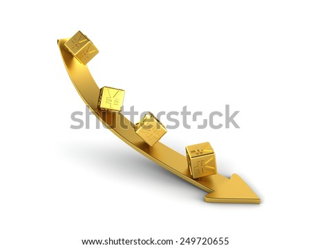 Falling golden yuan - stock photo