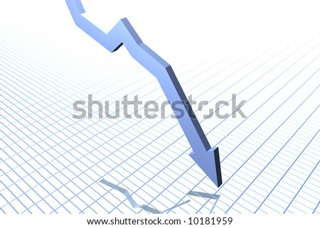 Falling Graph (blue) - stock photo