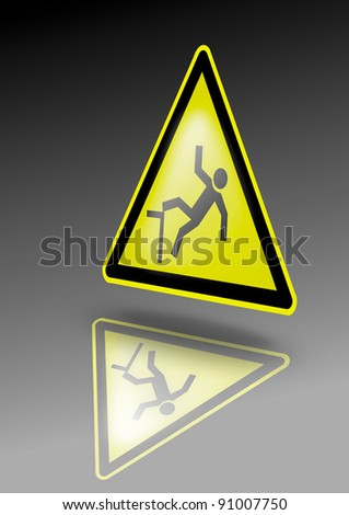 Falling hazard warning sign. Falling hazard symbol on yellow triangle. Illustration for dangerous environment or special risks