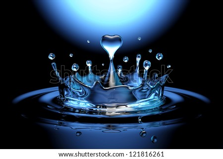falling heart shaped water drop into the water on the dark background - stock photo