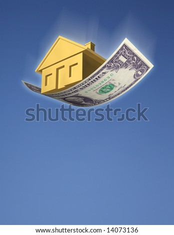 FALLING HOME PRICES A golden house falling from the sky on a dollar bill, against blue sky. Symbol of falling home prices, investment risk, or a downturn in the housing market. 3D photo illustration - stock photo