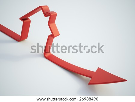Falling home sales 3D illustration - stock photo