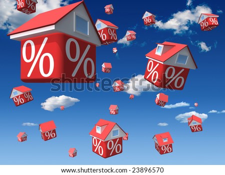 Falling houses with percent symbol on sky background - stock photo