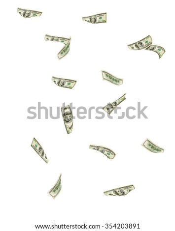 Falling hundred dollar bills - stock photo