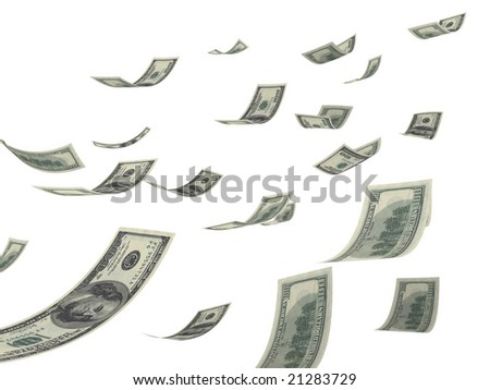 Falling hundred Dollar bills on white. 3D generated image