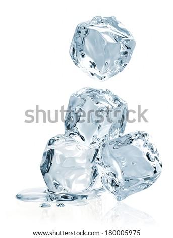 Falling ice cubes on white background - stock photo
