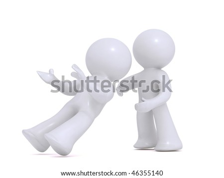 Falling intro trusting hands - stock photo