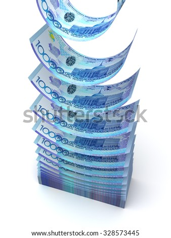 Falling Kazakh Tenge (isolated with clipping path) - stock photo