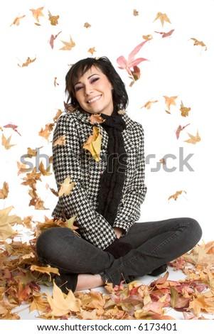 Falling Leaves Woman - stock photo